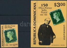 150th anniversary of stamp, Black Penny stamp + block 150 éves a bélyeg, Black Penny évforduló bélyeg + blokk