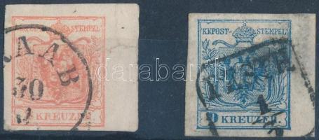 1850 2 db vegyes minőségű ívszéles bélyeg