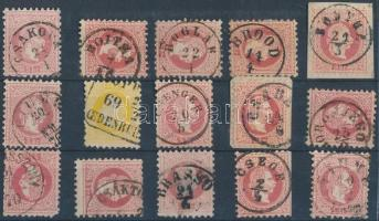 15 stamps with readable cancellations, 15 db bélyeg olvasható/ szép bélyegzésekkel