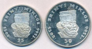 1966. 25Ft Ag + 50Ft Ag Zrínyi pár T:1(P) fo. Hungary 1966. 25 Forint Ag + 50 Forint Ag Zrínyi pair C:UNC(P) spotted Adamo EM17, EM18; Krause KM#567, KM#568