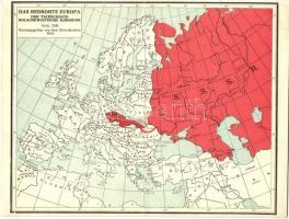 1936 Das Bedrohte Europa. Der Tschechisch-Bolschewistische Korridor. Genf.  Herausgegeben von dem Slowakischen Rate / The Threatened Europe. Map of the  ...