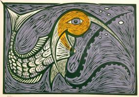 Rasmussen, Jörgen Lindhardt (1941- ):Lényecske. Színes linó, papír, jelzett, 16×24 cm