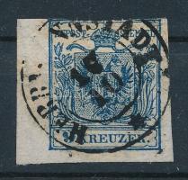 1850 9kr HP ívszéli bélyeg óriási vízjellel ,,HERRMANNSTADT