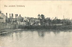 Szczytno, Ortelsburg; zerstörte Stadt / WWI destroyed town + K.und K. Schwere Haubitzdivision Nr. 12. Batterie Nr. 1.