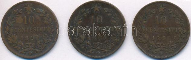 Olaszország 1893R-1894R 10c Cu I. Umberto (3x) T:2,2- ph. Italy 1893R-1894R 10 Centesimi Cu Umberto I (3x) C:XF,VF edge error Krause KM#27.2