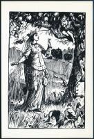Jelzés nélkül: A királylány és a manó. Linó, papír, 11,5x7,5 cm