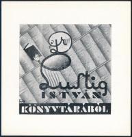 Szabó jelzéssel: Lustig István könyvtárából. Klisé, papír, jelzett a klisén, 6x6,5 cm