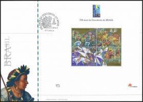 Anniversary of discovering Brazil block on FDC, Brazília felfedezésének évfordulója blokk FDC-n