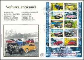Cars mini sheet FDC, Autómobilok kisív FDC-n