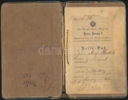 1886 Útlevél kemény fedéllel és 1 db 1885-ös, 2db 1888-as kiadású 1Fl okmánybélyeggel