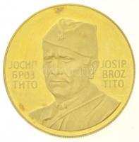 Jugoszlávia 1973. Demokratikus Föderatív Jugoszláv Köztársaság megalakulásának 30. évfordulója / Josip Broz Tito jelzett Au emlékérem (14,03g/0.900/28mm) T:2(PP) karc, fo. Yugoslavia 1973. 30th Anniversary - Democratic Federal Republic of Yugoslavia / Josip Broz Tito hallmarked Au commemorative medal (14,03g/0.900/28mm) C:XF(PP) scratched, spotted