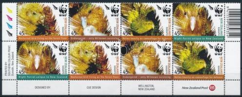 WWF Kakapo set corner block of 8 WWF: Kakapó sor ívsarki nyolcastömbben