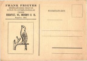 Hungarian agricultural seeds shop's advertisement card, Frank Frigyes mezőgazdasági magvak, szőlő- és gyümölcsvédelmi cikkek üzletének reklámlapja. Budapest, Murányi utca 15.