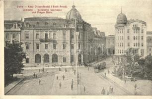 Lviv, Lwów, Lemberg; Kasa Oszczednosci i Bank Praski / Galizische Sparkasse und Prager Bank / savings bank, tram