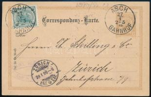"PS-card with additional franking to Switzerland ""ASCH BAHNHOF"" - ""ZÜRICH"", Díjkiegészített díjjegyes levelezőlap Svájcba ""ASCH BAHNHOF"" - ""ZÜRICH"""