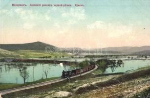 Inkerman, Spring flood of the Black River, railway with locomotive
