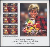Princess Diana's death anniversary mini sheet Diana hercegnő halálának évfordulója kisív