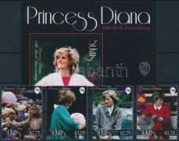 Princess Diana set + block Diana hercegnő születésének 50. évfordulója sor + blokk