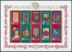 1000th anniversary of Austria block (minor faults), 1000 éves Ausztria blokk (apró törés)