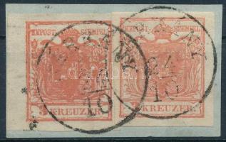 1850 2 klf színárnyalatú - Kárminrózsa és rózsapiros - 3kr HP I b kivágáson SÁRKÁNY Sign: Labres, Certificate: Steiner Rendkívül érdekes darab!