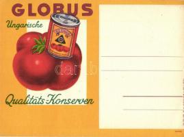 Globus, Ungarische Qualitäts-Konserven. Weiss Manfréd / Hungarian tomato can advertisement (EK)