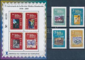 Médica journal set + block, 75 éves a Médica folyóirat sor + blokk