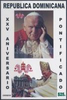 Pope John Paul II. imperforated block, II. János Pál 25 éve pápa vágott blokk