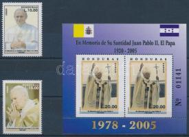 Pope John Paul II. set + block, II. János Pál pápa emlékére sor + blokk