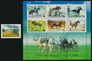 Lovas sport kisív + bélyeg, Horse sport mini sheet + stamp