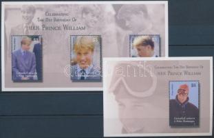 Vilmos herceg 21 éves kisív + blokk, Prince William's 21st birthday mini sheet + block