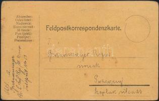 1918 Brandmayer (Bántay) Alfréd vezérkari kapitánynak, a 6. vegyesdandár parancsnokának saját kézzel írt tábori levelezőlapja