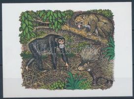 1995 Afrikai állatok, csimpánz blokk Mi 480