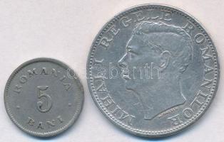 Románia 1900. 5b Cu-Ni + 1944. 500L Ag I. Mihály T:2 kis ph. Romania 1900. 5 Bani Cu-Ni + 1944. 500 Lei Ag Mihai I C:XF small edge error Krause KM#28, KM#65