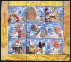 In memory of Pope Saint John Paul II. minisheet, II. János Pál pápa emlékére 9 értékes kisív
