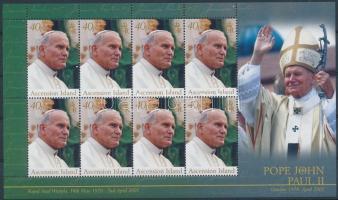 In memory of John Paul II minisheet, II. János Pál pápa emlékére kisív