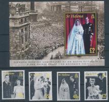 Elizabeth II. and Prince Philip's wedding set + block, II. Erzsébet és Fülöp herceg esküvője sor + blokk