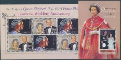 Diamon Wedding Anniversary mini sheet + block, II. Erzsébet gyémántlakodalma kisív + blokk