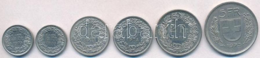 Svájc 1970-1987. 1/2Fr (2xklf) + 1Fr (2xklf) + 2Fr + 5Fr T:2 Switzerland 1970-1987. 1/2 Franc (2xdiff) + 1 Franc (2xdiff) + 2 Francs + 5 Francs C:XF