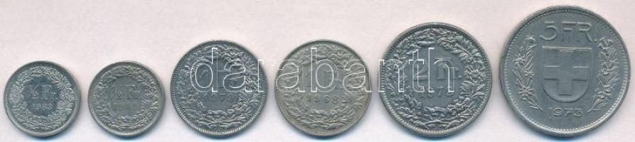 Svájc 1968-1983. 1/2Fr (2xklf) + 1Fr (2xklf) + 2Fr + 5Fr T:2 Switzerland 1968-1983. 1/2 Franc (2xdiff) + 1 Franc (2xdiff) + 2 Francs + 5 Francs C:XF