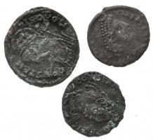 3db tisztítatlan római rézpénz, közte I. Constantinus és II. Constantius T:3 3pcs of Roman uncleaned copper coins, including Constantine I and Constantius II C:F