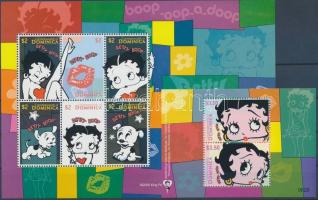 Betty Boop, cartoon minisheet + block, Betty Boop, rajzfilm kisív + blokk