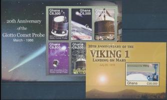 Space Research mini sheet + block, Űrkutatás kisív + blokk