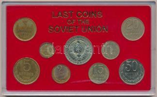 Szovjetunió 1971-1991. 1k-1R (9xklf) forgalmi szett A Szovjetunió utolsó érméi műanyag tokban T:1,1- oxidáció Soviet Union 1967. 1 Kopek - 1 Ruble (9xdiff) coin set in Last Coins of the Soviet Union plastic case C:UNC,AU corrosion
