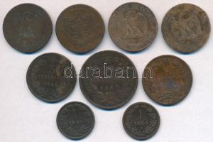 9db-os vegyes külföldi réz- és bronzpénz tétel, közte Ausztria 1859A 1kr Cu; Franciaország / Második Császárság 1855D 5c Br III. Napóleon; Románia 1882B 5b Cu T:2-,3 ü. 9pcs of various bronze and copper coins, including Austria 1859A 1 Kreuzer Cu; France / Second Empire 1855D 5 Centimes Br Napoleon III; Romania 1882B 5 Bani Cu C:VF,F ding