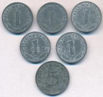 Német Harmadik Birodalom 1940-1943. 1pf Zn (5x) + 5pf Zn T:2,2- German Third Reich 1940-1943. 1 Pfennig Zn (5x) + 5 Pfennig Zn C:XF,VF