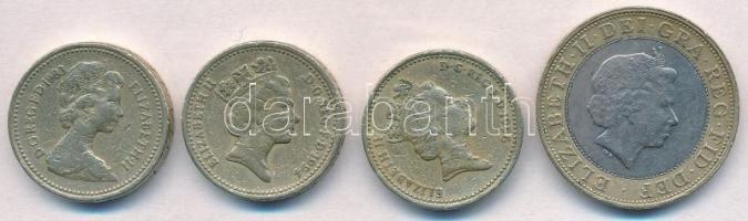 Nagy-Britannia 1983-1996. 1Ł (3xklf) + 2001. 2Ł T:2,2- Great Britain 1983-1996. 1 Pound (3xdiff) + 2001. 2 Pounds C:XF,VF