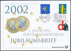 Introduction of the Euro 3 diff. stamps on FDC + unused PS-cover Az Euro bevezetése 3 klf bélyeg FDC-n + használatlan díjjegyes boríték