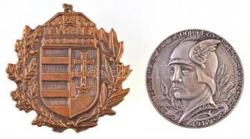 Bakonyi Sándor (1892-1937) 1912. Pénzintézeti Sportegyletek Ligája / Távolugrás III. o. I ezüstözött fém díjérem (37mm) + DN Magyar címer, sérült Br jelvény (47mm) T:2