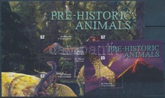 Prehistoric Animals mini sheet + block, Ősállatok kisív + blokk