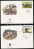 WWF: Forest elephant set on 4 FDCs WWF: Erdei elefánt sor 4 db FDC-n